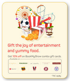 10% off on BookMyShow Combo Gift cards