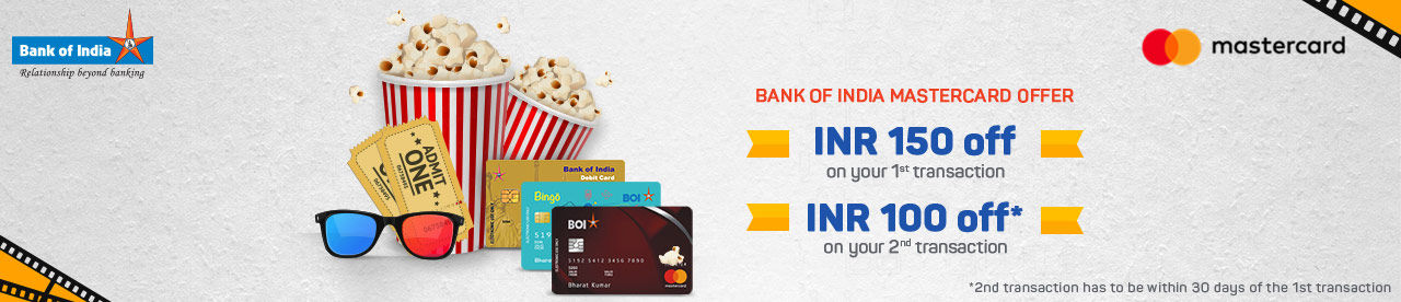 Bank Of India Debit MasterCard Offer Online Movie Ticket Offer - BookMyShow
