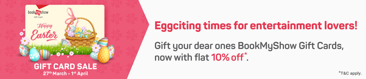 Get flat 10% off on BookMyShow Gift Cards Online Movie Ticket Offer - BookMyShow