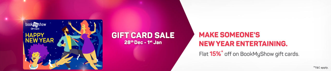 Bookmyshow gift card sale 15% off 28 dec 1 Jan