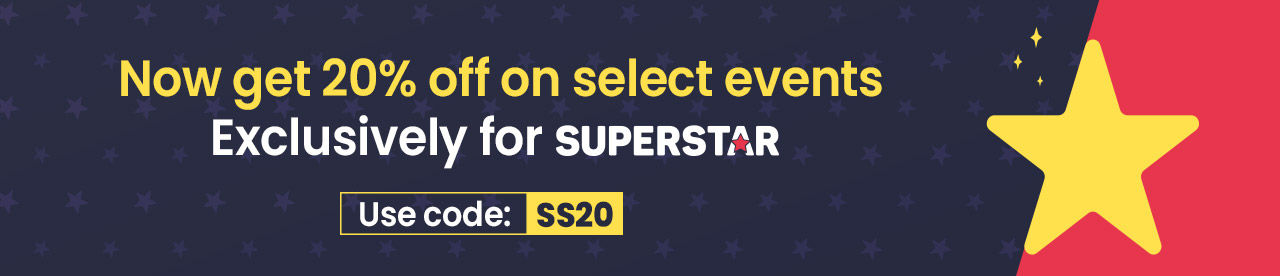 Flat 20% off for BookMyShow SuperStar Online Movie Ticket Offer - BookMyShow