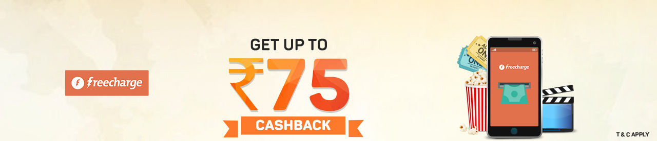 FreeCharge 25% cashback up to INR 75 Online Movie Ticket Offer - BookMyShow