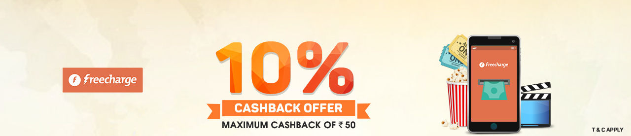 FreeCharge 10% cashback offer Online Movie Ticket Offer - BookMyShow