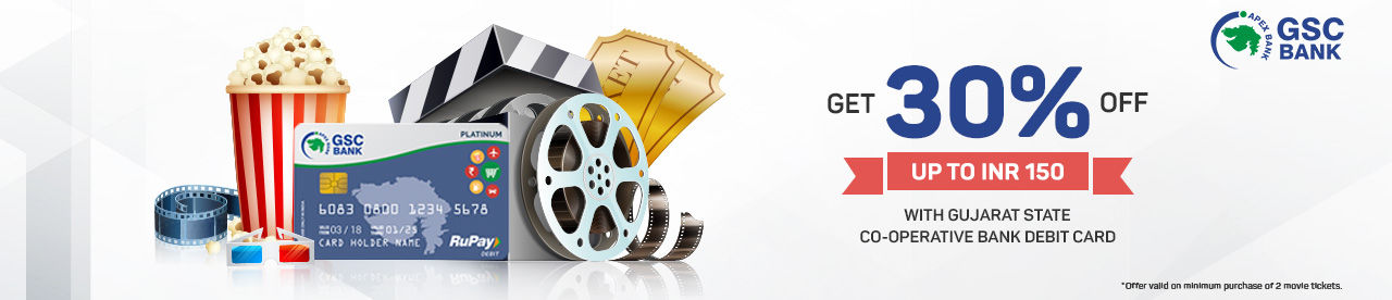 The Gujarat State Co-operative Bank debit card offer Online Movie Ticket Offer - BookMyShow