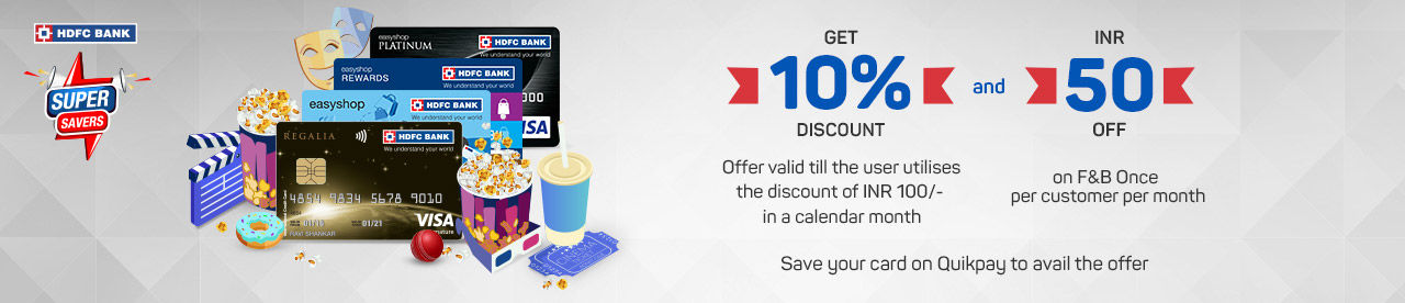 HDFC Bank Entertainment Delight Online Movie Ticket Offer - BookMyShow