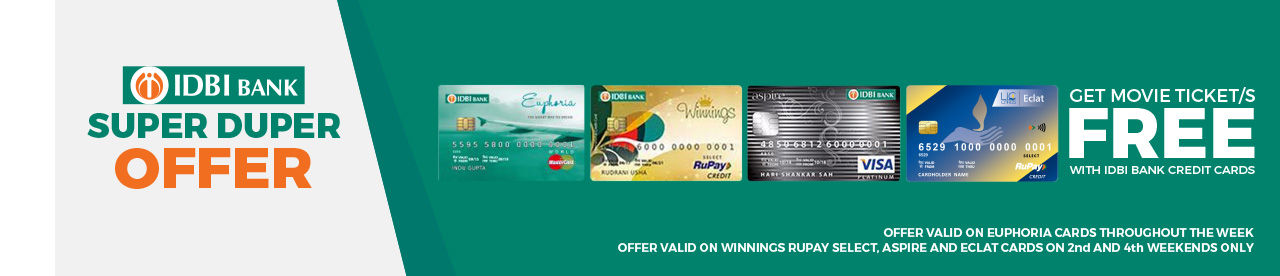 IDBI Bank Credit Card Offer Online Movie Ticket Offer - BookMyShow