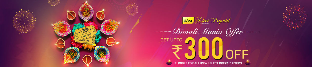 Idea Select Prepaid Diwali Mania offer Online Movie Ticket Offer - BookMyShow