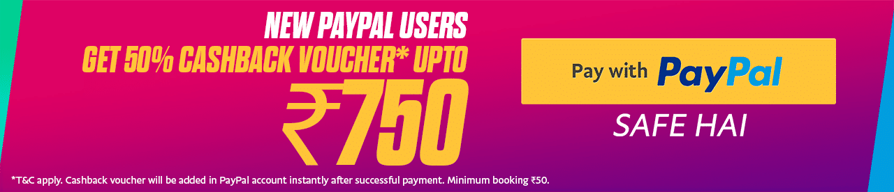 PayPal Rs 750 cashback voucher offer Online Movie Ticket Offer - BookMyShow