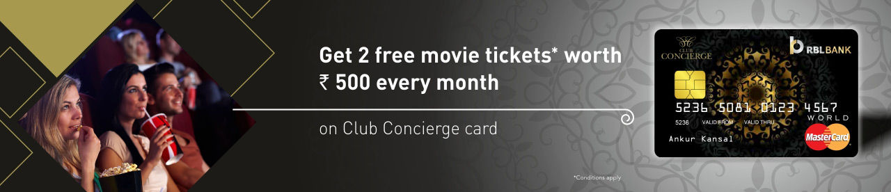 RBL Bank Club Concierge Card Offer Online Movie Ticket Offer - BookMyShow