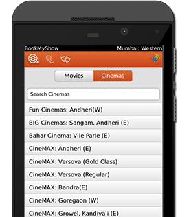 BookMyShow Mobile App Blackberry Device - Cinemas