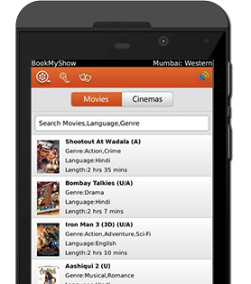 BookMyShow Mobile App Blackberry Device - Movies