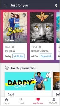 BookMyShow Mobile App Android - Movie Listing