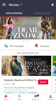 BookMyShow Mobile App Android - Movie Showcase