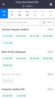 BookMyShow Mobile App Android - Movie Showtimes