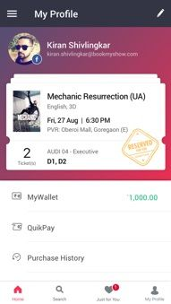 BookMyShow Mobile App Android - Your BookMyShow Profile
