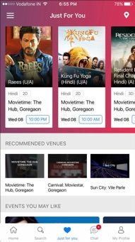 BookMyShow Mobile App Iphone - Movie Listing