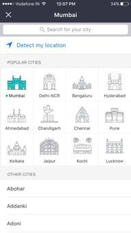 BookMyShow Mobile App Iphone - City Selection
