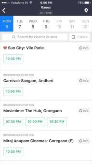 BookMyShow Mobile App Iphone - Movie Showtimes