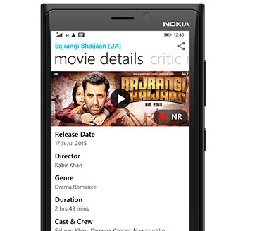 BookMyShow Mobile App Windows - Movie Listing Details