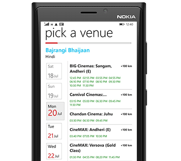 BookMyShow Mobile App Windows - Cinemas Venue Listing