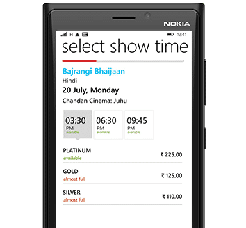 BookMyShow Mobile App Windows - Showtimes