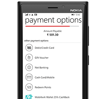 BookMyShow Mobile App Windows - Payment Options
