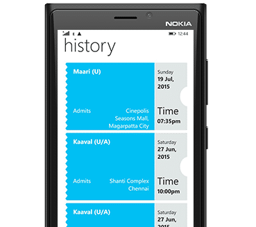 BookMyShow Mobile App Windows - Past Movie Booking History