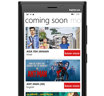 BookMyShow Mobile App Windows - Upcoming Movies listing